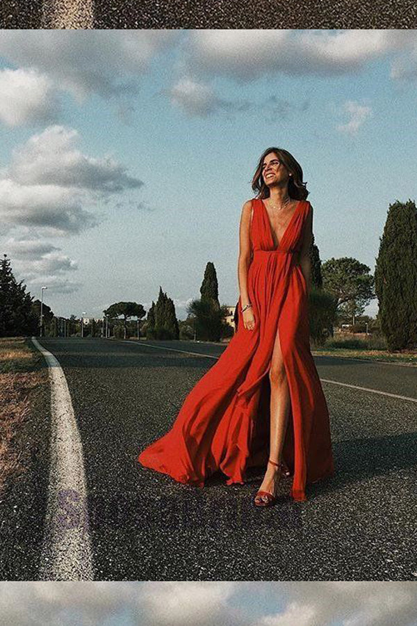Red A Line Floor Length Deep V Neck Sleeveless Chiffon Side Slit Prom Dress,Party Dress P525 - Ombreprom
