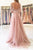 Pink A Line Brush Train 3/4 Sleeve Backless Layers Aplliques Prom Dress,Party Dress P454 - Ombreprom