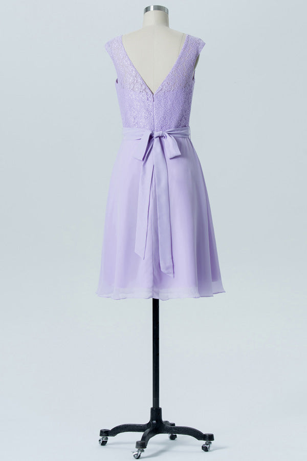 Pastel Lilac A Line Knee Length Sheer Neck Capped Sleeve Bowknot Cheap Bridesmaid Dresses B175 - Ombreprom