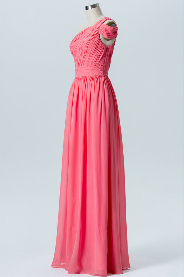 A Line Floor Length One Shoulder Sleeveless Cheap Bridesmaid Dresses B189