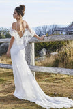 White Sheath Court Train Sleeveless Tulle Wedding Dress,Beach Wedding Dress W210 - Ombreprom