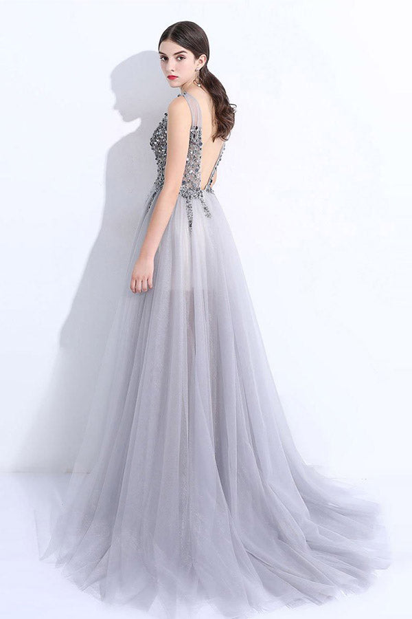 A Line Brush Train Deep V Neck Sleeveless Backless Beading Prom Dress,Party Dress P479