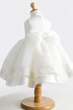 White A Line Floor Length Scoop Neck Sleeveless Crystal Flower Girl Dresses,Baby Dress F38