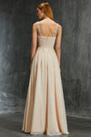 Peach A Line Floor Length Sweetheart Sleeveless Mid Back Beading Prom Dress,Formal Dress P304 - Ombreprom