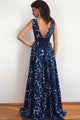 Blue A Line Brush Train Sleeveless Deep V Neck Prom Dress,Party Dress P448 - Ombreprom