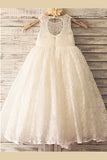 White A Line Floor Length Scoop Neck Sleeveless Zipper Back Flower Girl Dresses,Baby Dress F19