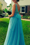 Blue A Line Floor Length Open Back Beading Cheap Prom Dress,Evening Dress P243 - Ombreprom