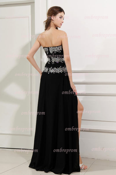 Black A Line Floor Length Sweetheart Strapless Sleeveless Beading Prom Dress,Party Dress P509 - Ombreprom