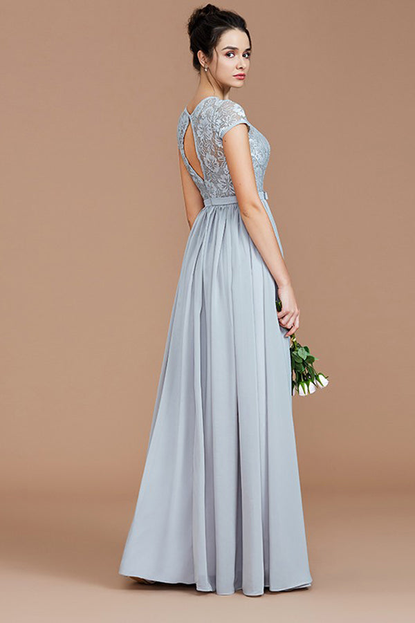Gray A Line Floor Length Short Sleeves Chiffon Bridesmaid Dress, Wedding Party Dress B321