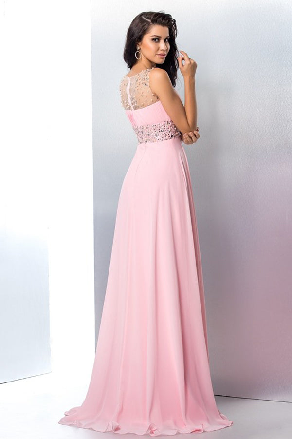 Pink A Line Brush Train Sleeveless Beading Side Slit Chiffon Prom Dress,Party Dress P353 - Ombreprom