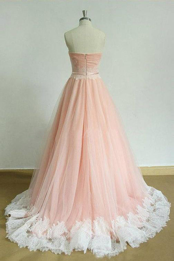 Pink A Line Brush Train Sweetheart Strapless Sleeveless Layers Prom Dress,Party Dress P437 - Ombreprom