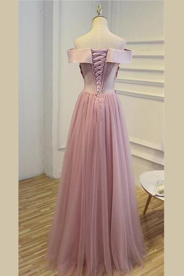 Pink A Line Floor Length Off Shoulder Lace Up Tulle Appliques Beading Cheap Bridesmaid Dress B249 - Ombreprom