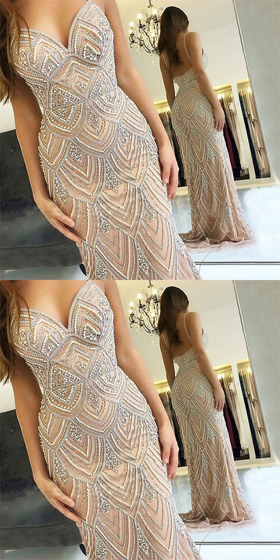 Charming V Neck Spaghetti Straps With Beaded Floor Length Prom Dress P651