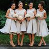 A Line Scoop Neck Tea Length Capped Sleeve Cheap Bridesmaid Dress B299 - Ombreprom