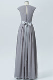 Grey A Line Floor Length Jewel Neck Capped Sleeve Bowknot Cheap Bridesmaid Dresses B165