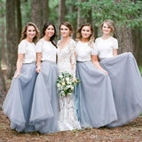 Two Piece A Line Floor Length Short Sleeve Layers Tulle Bridesmaid Dress, Wedding Party Dress B350 - Ombreprom