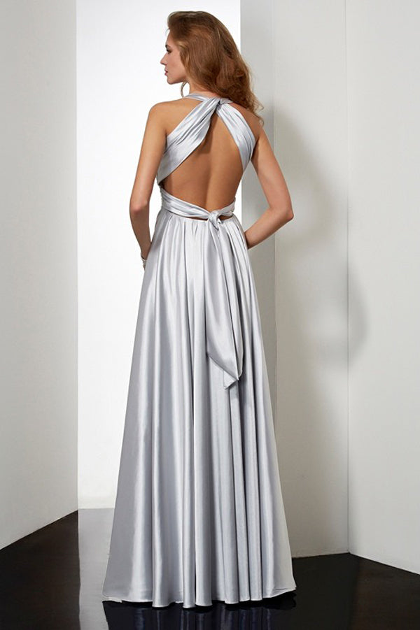 Silver A Line Floor Length Halter Sleeveless Pleats Elastic Woven Satin Prom Dress,Party Dress P395 - Ombreprom