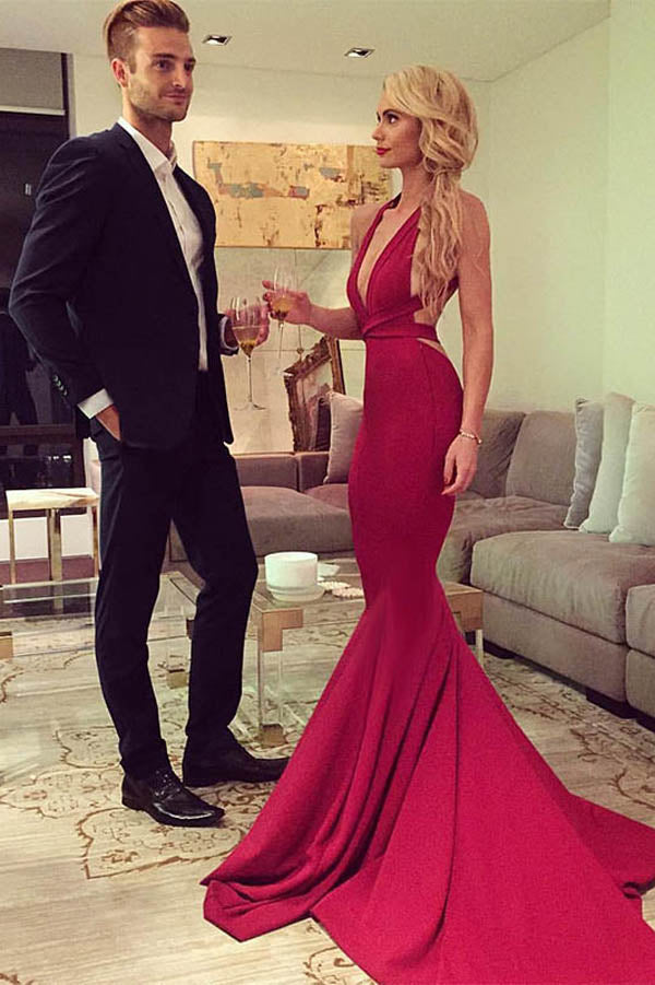 Red Trumpet Court Train Deep V Neck Sleeveless Backless Prom Dress,Party Dress P129 - Ombreprom