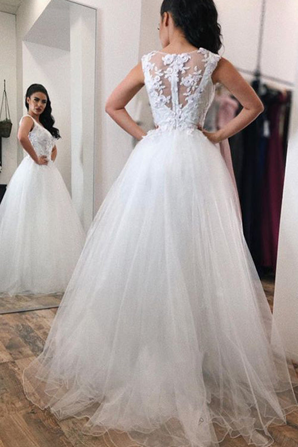 Gorgeous A Line V Neck With Lace Appliques Long Tulle Ball Gown Wedding Dress W402