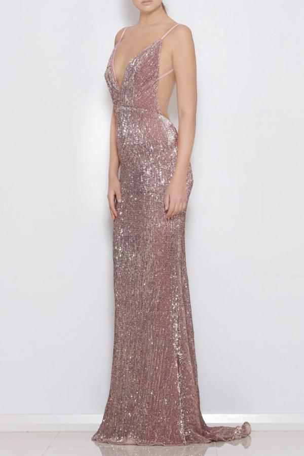 Pink Sheath Sweep Train Deep V Neck Sleeveless Backless Sparkle Long Prom Dress,Party Dress P236 - Ombreprom