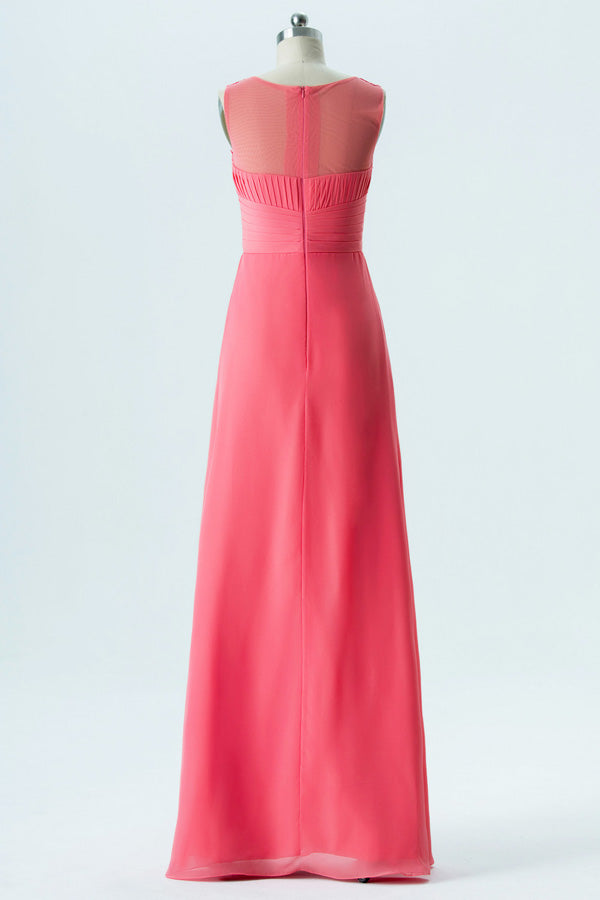 Spiced Coral A Line Floor Length Sheer Neck Sleeveless Appliques Cheap Bridesmaid Dresses OB132