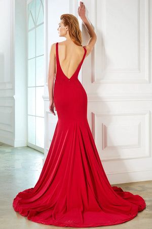 Red Sheath Sweep Train Scoop Neck Sleeveless Backless Simple Prom Dress,Party Dress P322 - Ombreprom