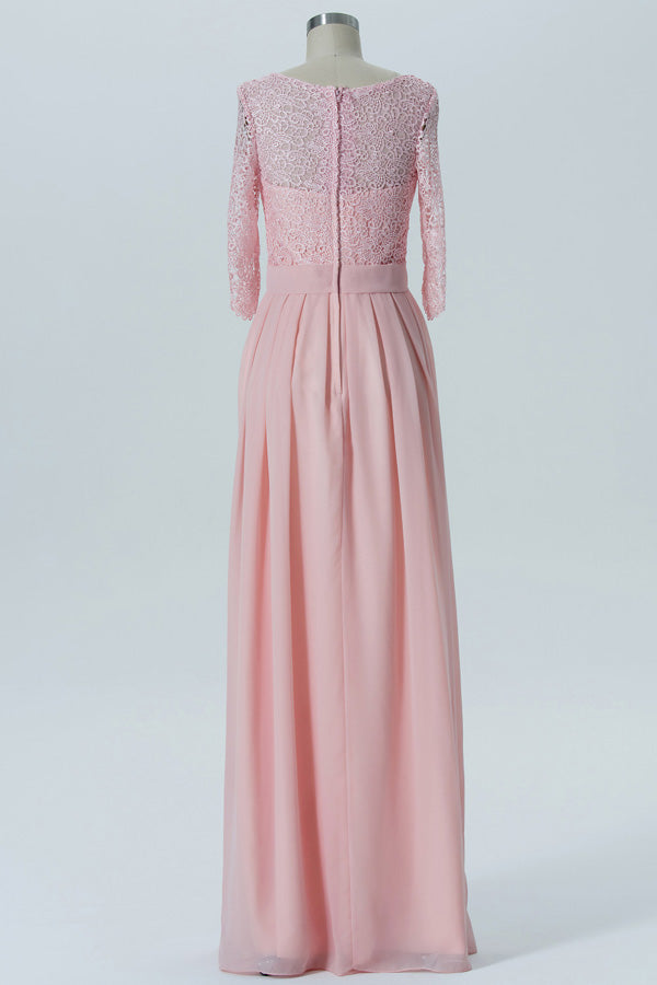 Blush A Line Floor Length Sheer Back 3/4 Sleeve Lace Appliques Cheap Bridesmaid Dresses B164 - Ombreprom