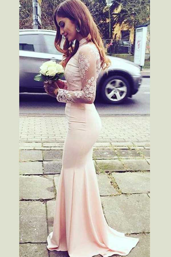 Pink Mermaid Sweep Train High Neck Long Sleeve Keyhole Back Appliques Cheap Bridesmaid Dress