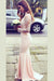 Pink Mermaid Sweep Train High Neck Long Sleeve Keyhole Back Appliques Bridesmaid Dress B293
