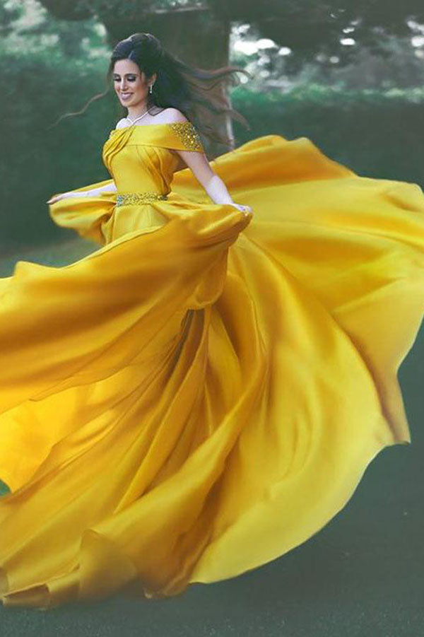 Yellow A Line Court Train Off Shoulder Ruffles Long Prom Dress,Party Dress