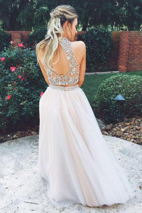 Two Piece Halter Sleeveless Prom Dress,A Line/Princess Floor Length Keyhole Back Evening Dress P42 - Ombreprom