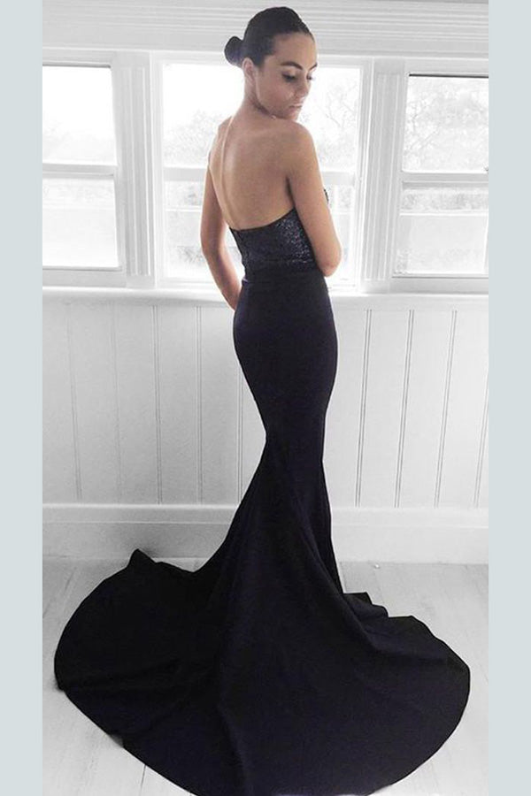 Sheath Brush Train Sweetheart Strapless Sleeveless Zipper Back Prom Dress,Party Dress P416 - Ombreprom