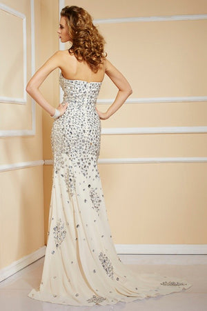 Trumpet Sweep Train Sweetheart Sleeveless Beading Side Slit Cheap Prom Dress,Evening Dress P258 - Ombreprom