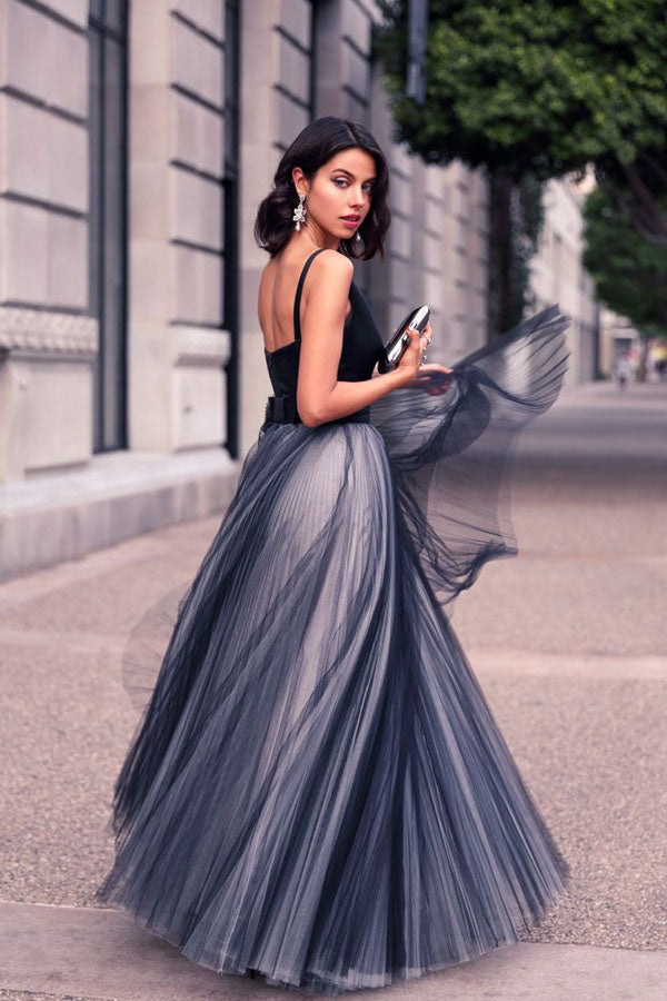 Navy Blue A Line Floor Length Deep V Neck Sleeveless Layers Prom Dress,Party Dress P413 - Ombreprom