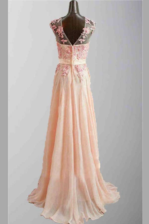 Pink A Line Sweep Train Sheer Neck Sleeveless Appliques Prom Dress,Bridemaid Dress P87 - Ombreprom
