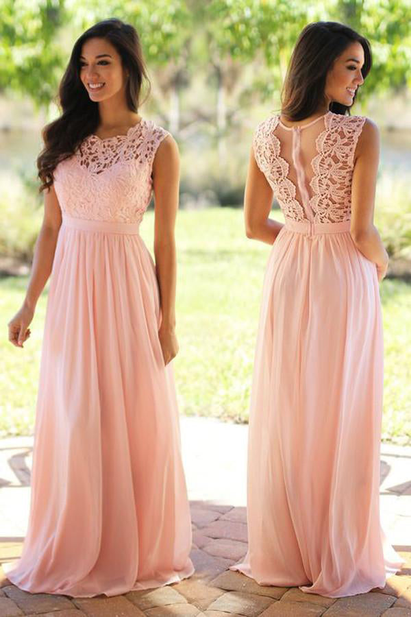 Pink Jewel Neck Sleeveless Prom Dress,A Line/Princess Appliques Evening Dress OMP39 - Ombreprom