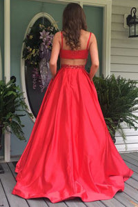 Red A Line Sweep Train Sleeveless Mid Back Beading Prom Dress,Party Dress P116 - Ombreprom