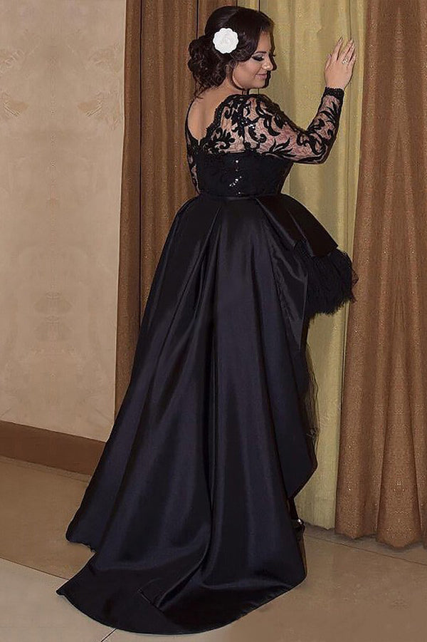 Black A Line Asymmetrical Long Sleeves Scoop Satin Appliques Plus Size Prom Dresses S14 - Ombreprom