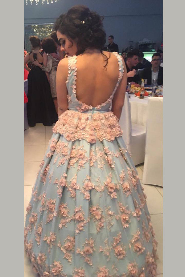 Blue Ball Gown Floor Length V Neck Sleeveless Open Back Floral Long Prom Dress,Party Dress P228 - Ombreprom