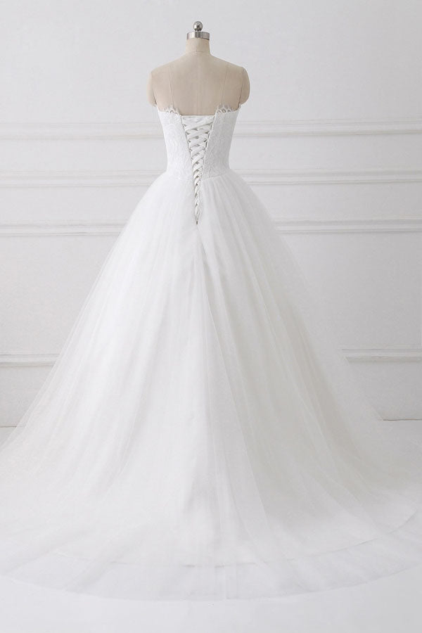 Ball Gown Strapless Sleeveless Lace Up Wedding Dress,Wedding Gowns W286