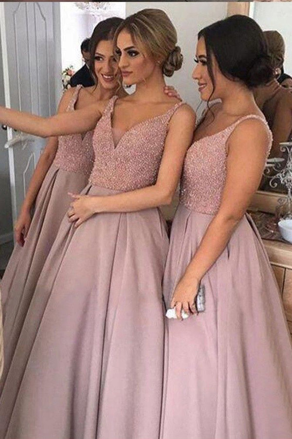Pink A Line Deep V Neck Sleeveless Beading Cheap Bridesmaid Dress B219 - Ombreprom