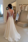 Rustic A Line Brush Train Bridal Gowns Elegant Simple Cap Sleeves Backless Ivory Chiffon Beach Wedding Dresses W169
