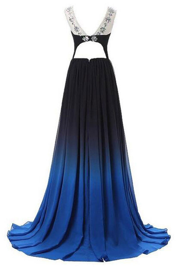 Ombre A Line Brush Train Sheer Neck Sleeveless Open Back Beading Prom Dress,Formal Dress O20 - Ombreprom
