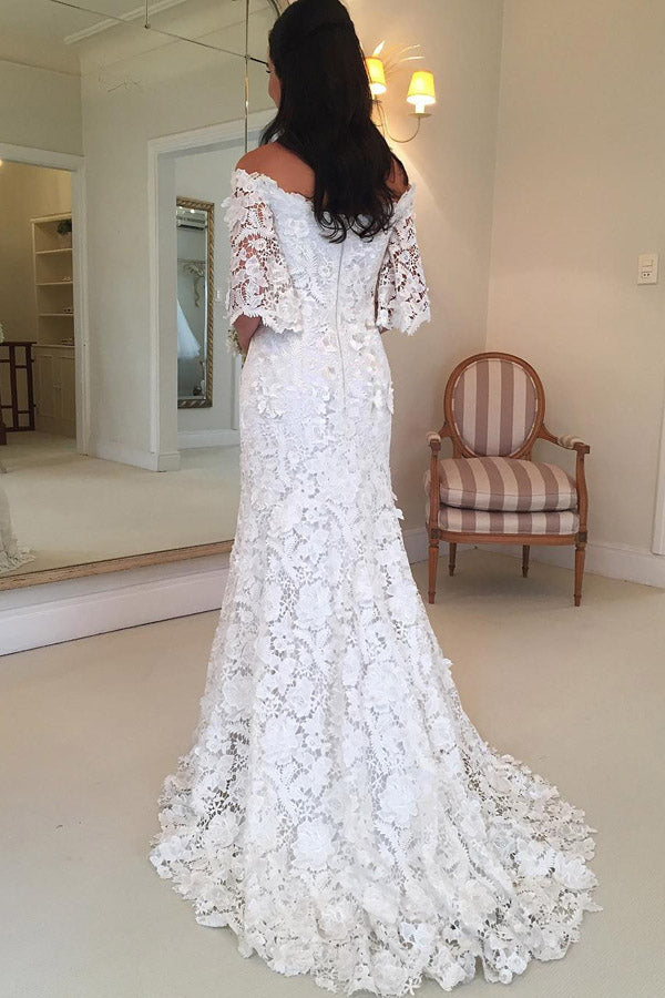 White A Line Brush Train Off Shoulder Half Sleeve Lace Wedding Dress,Beach Wedding Dress W241