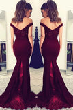 Chic Off the Shoulder Lace Satin Sleeveless With Beaded Prom Dress P712