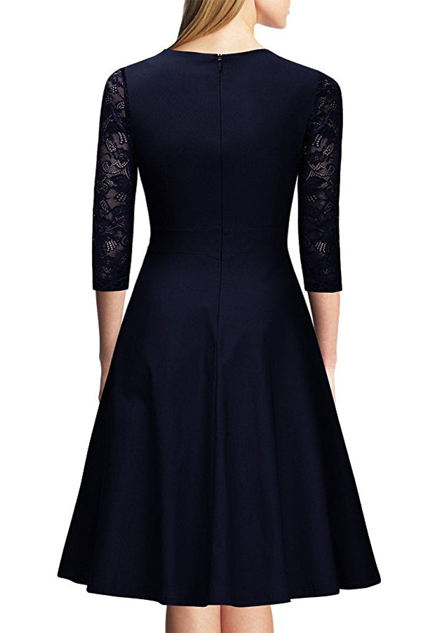 Dark Navy A Line Knee Length Half Sleeve Zipper Back Lace Mother of the Bride Dresses M19 - Ombreprom