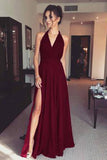 Cheap Sleeveless Floor Length V Neck Split Side Prom Dresses P616
