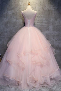 Pink Ball Gown Floor Length Sleeveless Layers Tulle Ruffles Floral Prom Dress,Party Dress P401 - Ombreprom