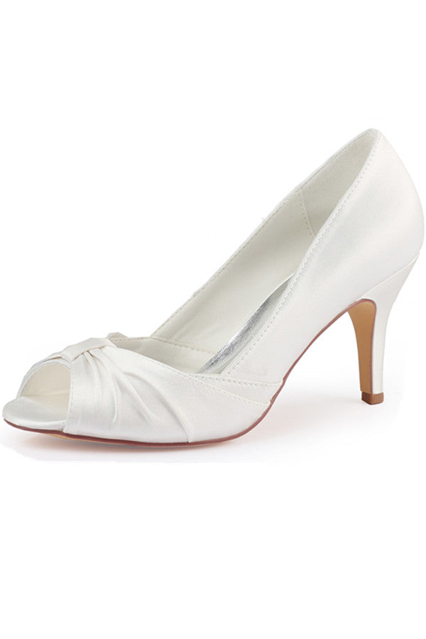 Charming White Satin High Heel Women Wedding Shoes S08