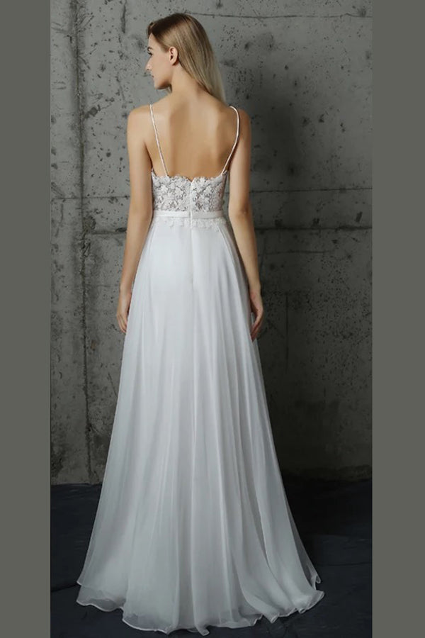 White A Line Floor Length Sweetheart Low Back Lace Wedding Dress,Beach Wedding Dress W203